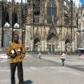 Manasseh at the Cologne Cathedral after getting his iPad back