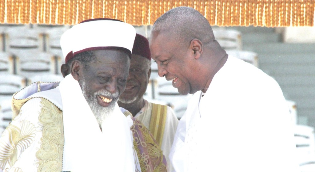 The National Chief Imam, Sheikh Dr Osman Nuhu Sharubutu (Left) with President John Mahama. He has publicly condemned religious extremism and intolerance
