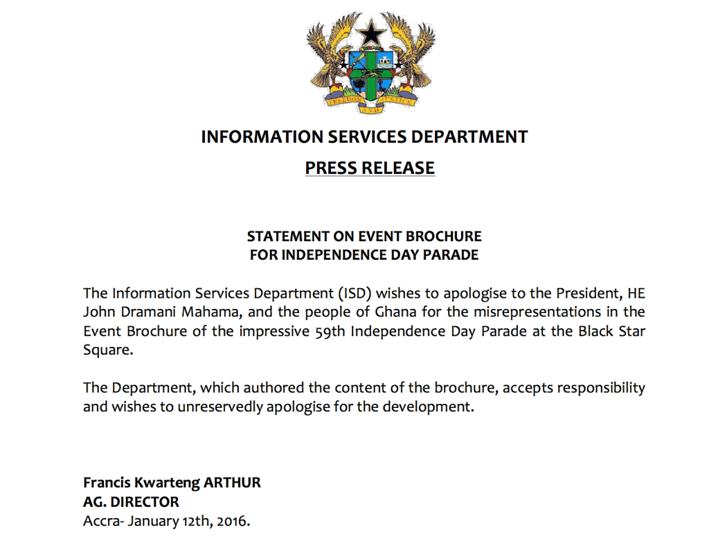 The press statement from the Information Services Department