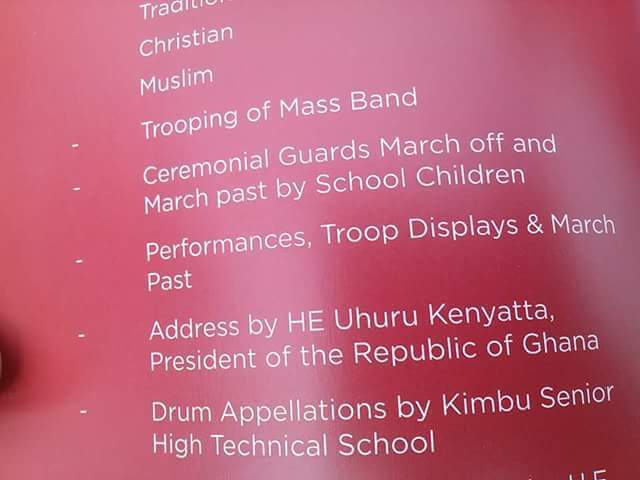 The programme in the brochure, which referred to the Uhuru Kenyatta as the President of the Republic of Ghana.""
