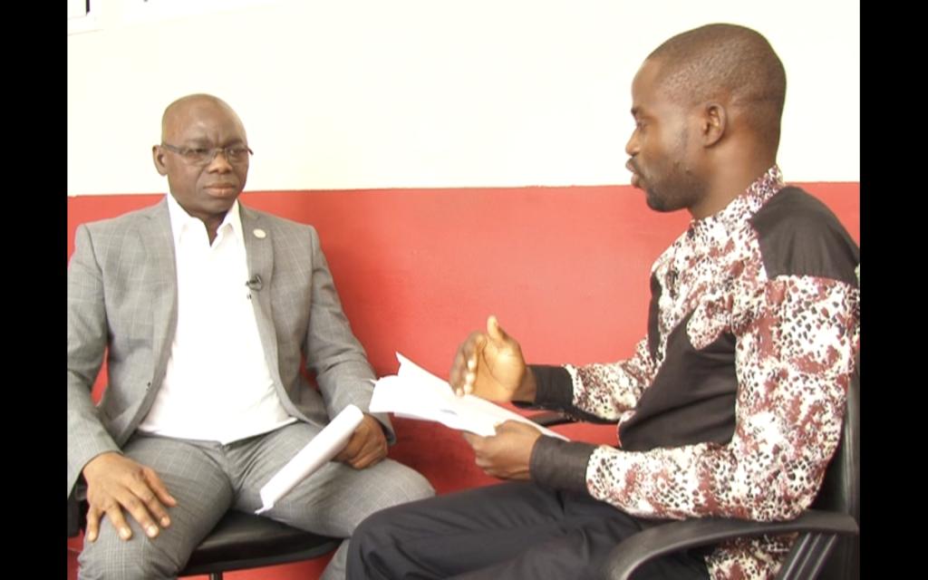 Manasseh Azure Awuni interviewing Mr. Daniel Batidam