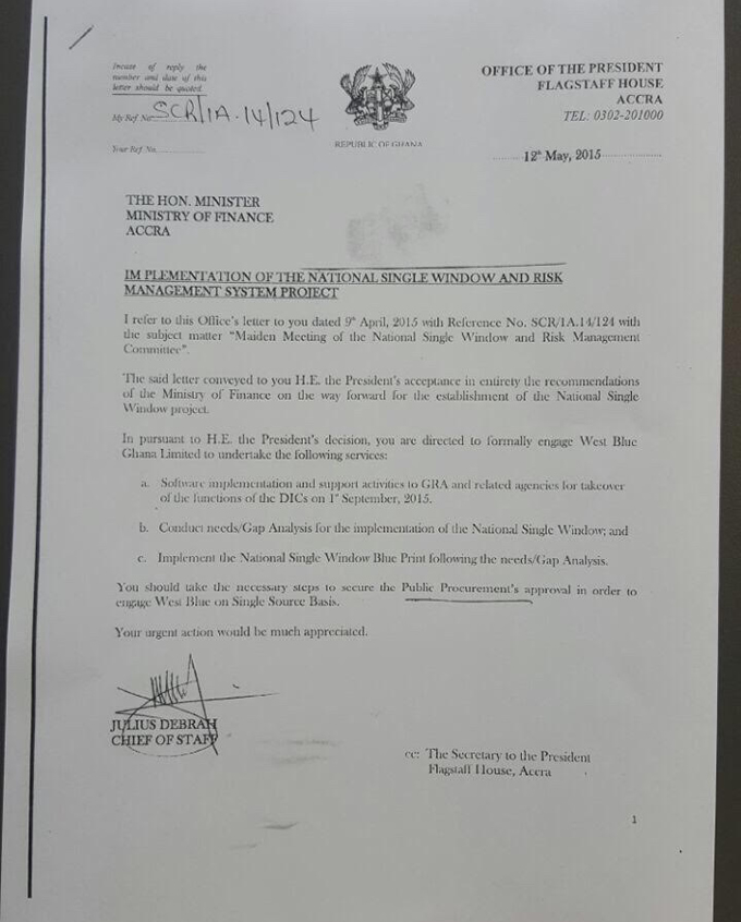A leaked letter from the Office of the Presidency that shows President Mahama's had a say in the West Blue contract