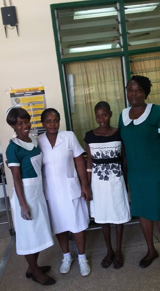 Agnes with some of the nurses after her sugery