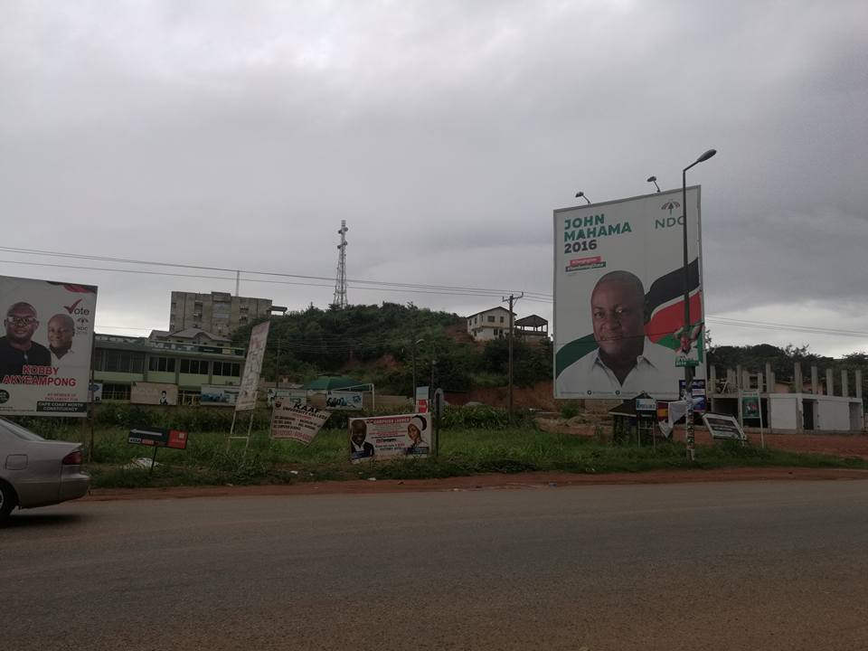 NDC billboards at the entrance of the University of Cape Coast. Photo credit: Manasseh Azure Awuni