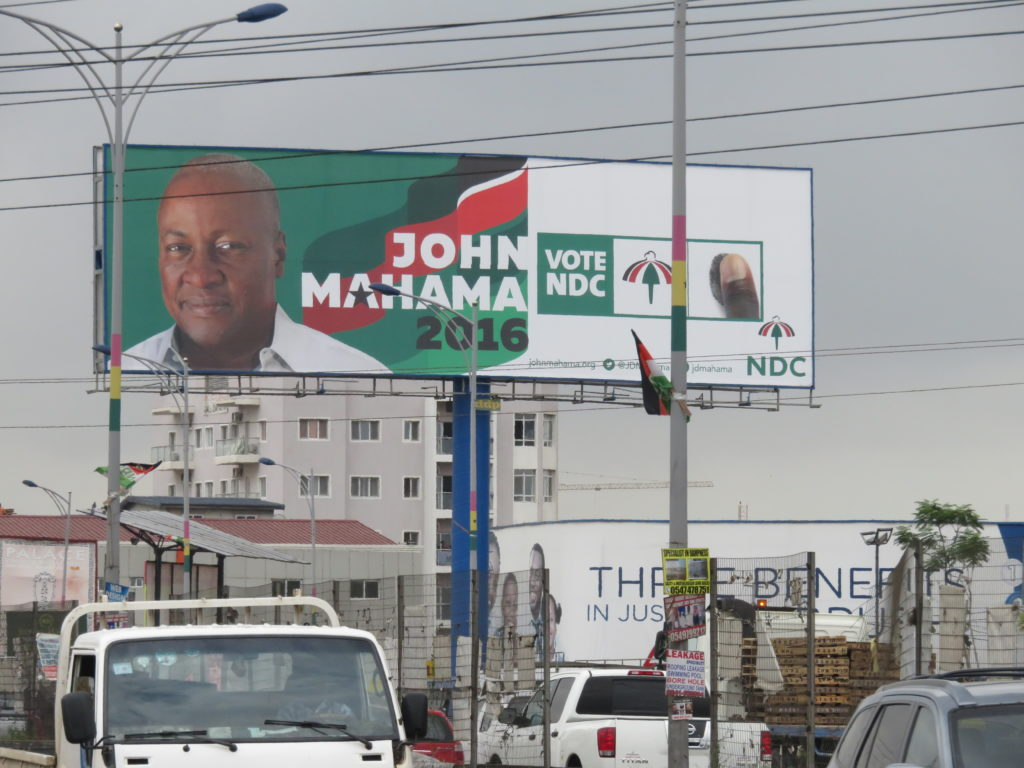 President Mahama's billboard at the Fiesta Royale Traffic light at Dzorwulu junction