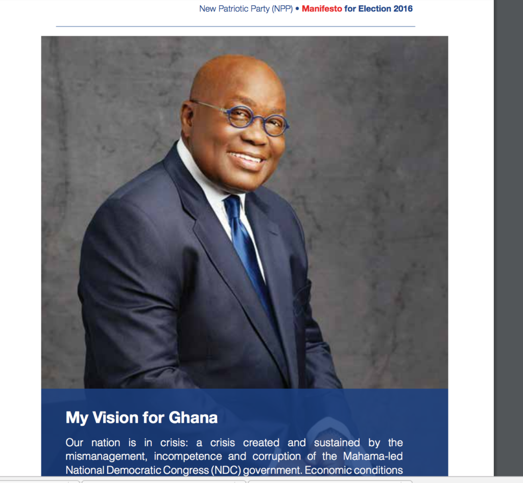 Nana Akufo-Addo's photograph in the NPP manifesto