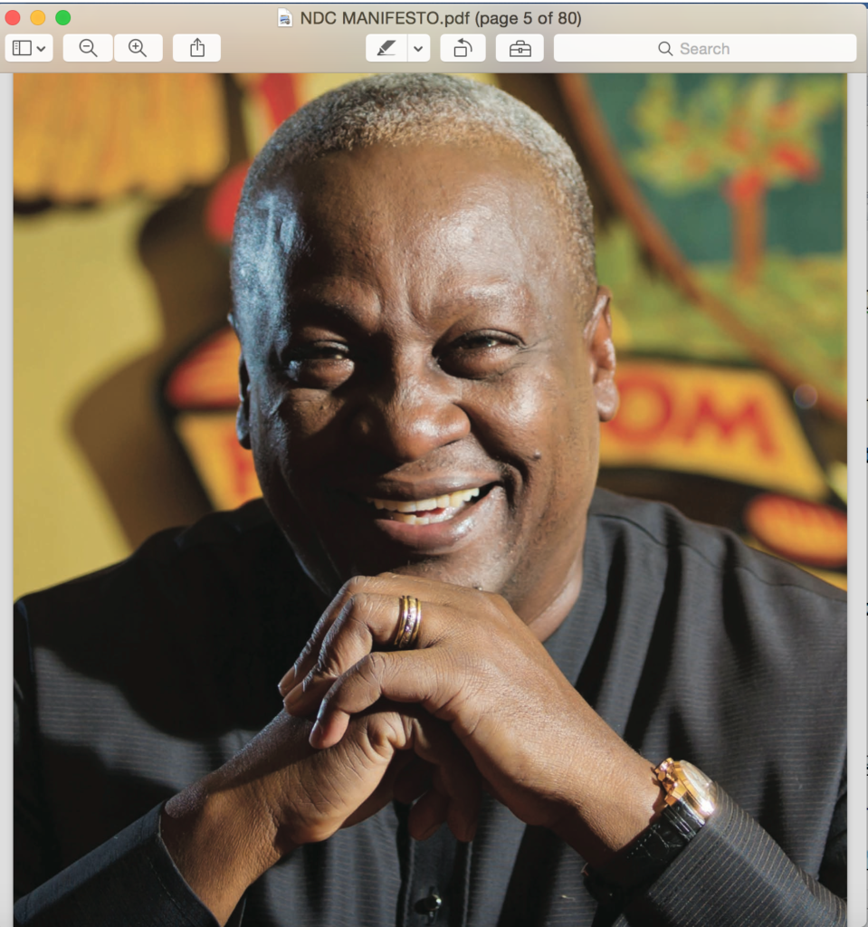 President Mahama's photograph in the NDC 2016 manifesto
