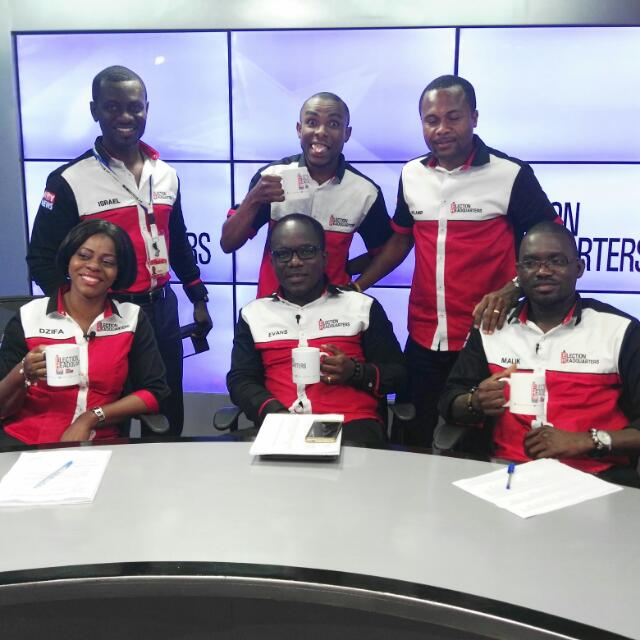 Some members of the Election Headquarters on Joy News on Multi TV and Joy FM