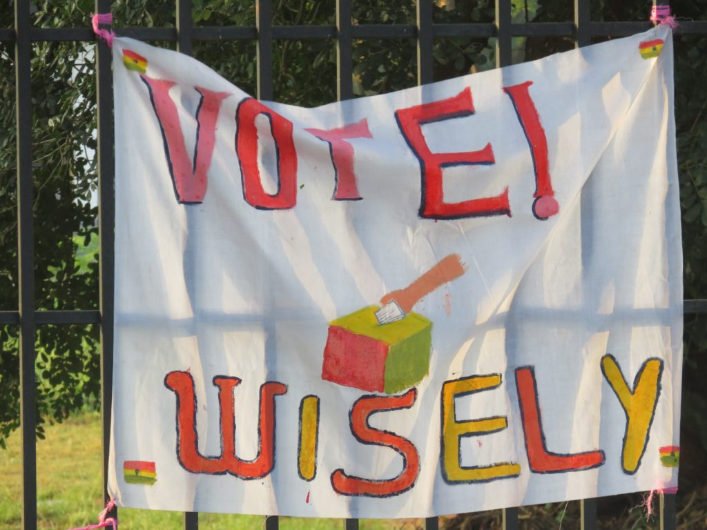 A banner at the University of Ghana Basic School urging Ghanaians to vote wisely
