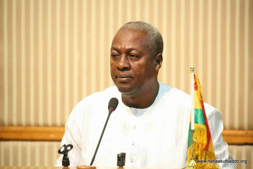 President John Mahama at the inauguration of the Transition Team yesterday