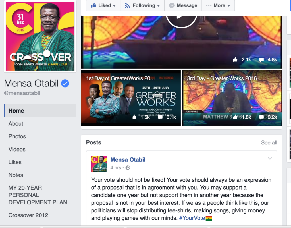 "Pastor Mensa Otabil is one of those who preach against putting one's vote on ""autopilot."""