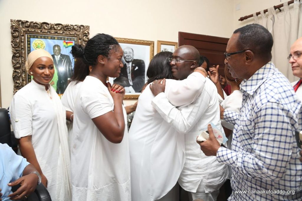 Nana Dokua waits for her turn to hug Dr. Bawumia
