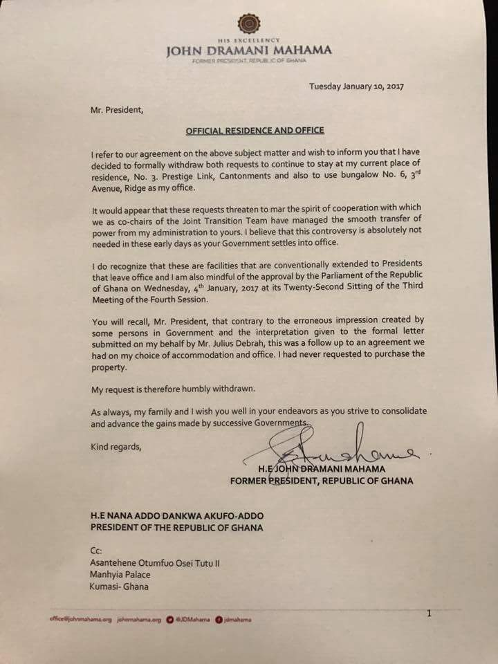 Former President Mahama's letter withdrawing the request