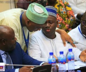 Alhassan Suhuyini explaining a point to Minority Chief whip, Mohammed Muntaka Mubarak