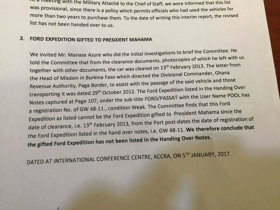 A portion of the report alleging that the Ford Expedition for President Mahama is missing from the list