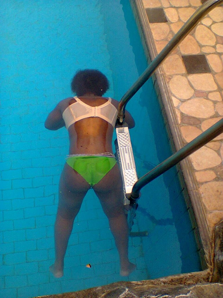 Elorm's body floating in the swimming pool on August 21, 2015